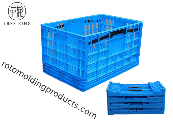 Square Collapsible Plastic Crate , Foldable Plastic Storage Bins 600 * 400 * 340 Mm